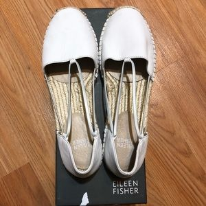 Eileen Fisher White Leather Espadrilles Size 7M